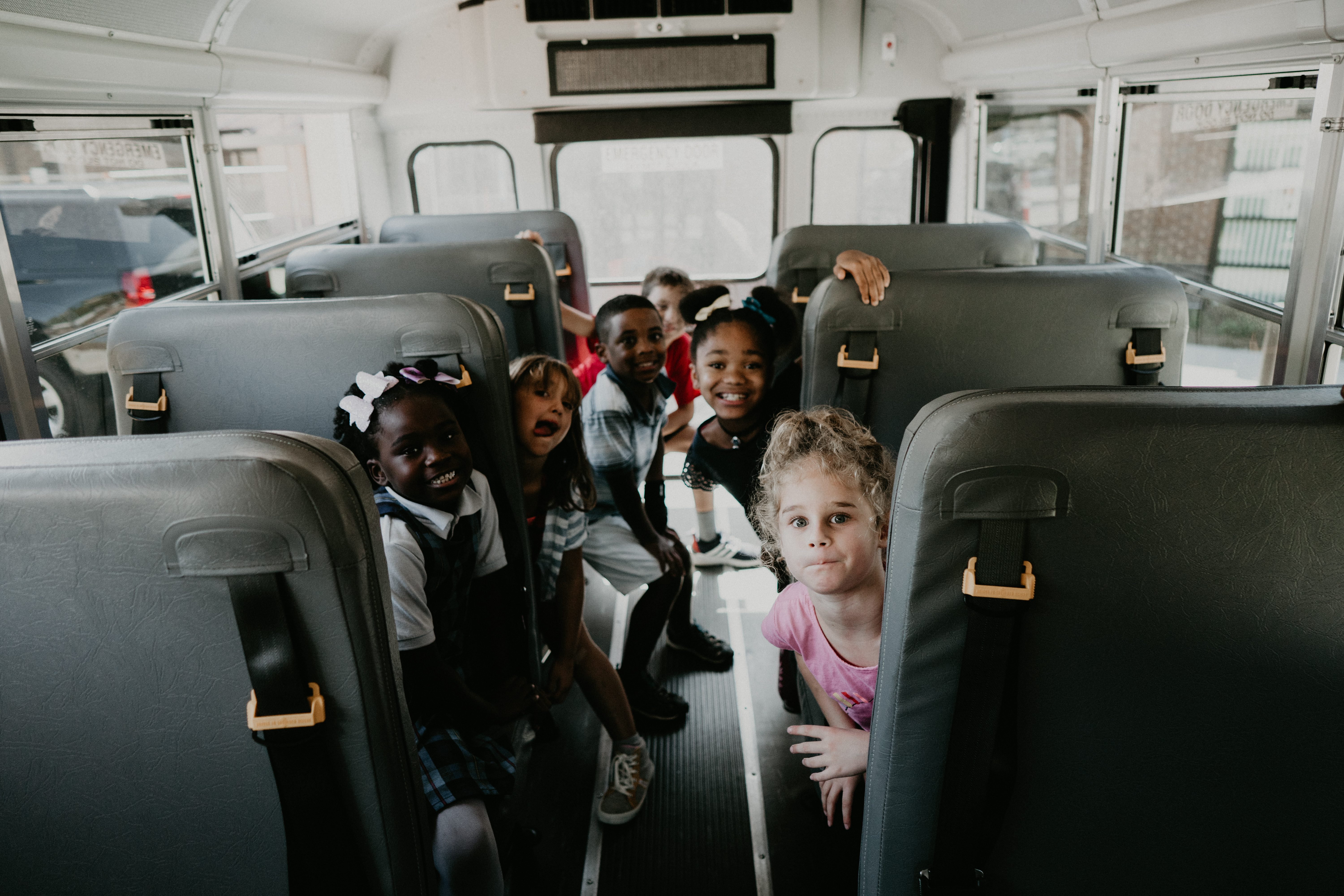 Kids on a bus during after school program